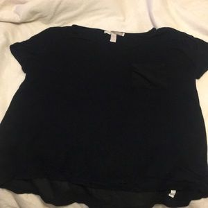 Forever 21 sheer back detailed black shirt